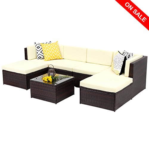 Wisteria Lane Outdoor Rattan Sectional Sofa,7-Piece Patio Furniture Set Chair Couch Ottoman&Coffee Table,Brown Wicker Sofa with Light Yellow Washable (Garden Place Polyester Ottoman)