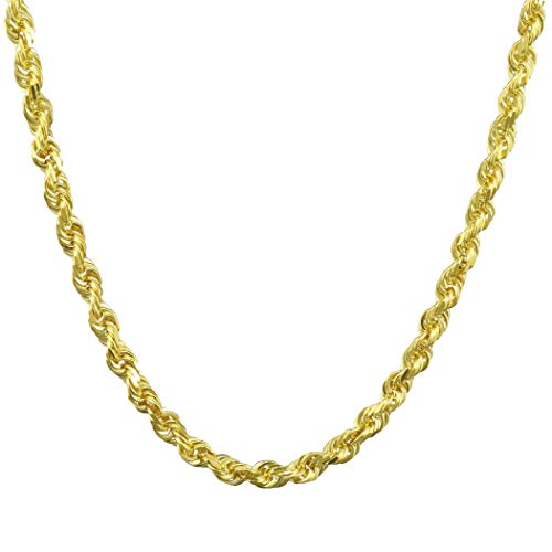 14k Yellow Gold Solid 4mm Diamond Cut Rope Chain Pendant Necklace, 18