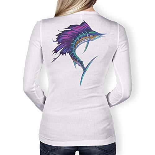 Southern Fin Apparel Womens Performance Fishing Shirt Girls Ladies Long Sleeve (Medium, Sailfish)