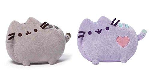 GUND Pusheen Cat Plush Stuffed Animal Bundled with Pusheen Pastel Purple Heart Plush