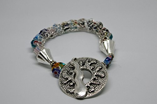 Silver plated wire knitted Bracelet with multi-color Millefiori glass (Knitted Glass)