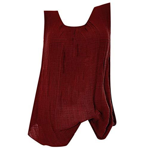 (Hosamtel Womens Sleeveless T-Shirt Loose Baggy Retro Vintage Casual Cotton Linen Vest Tank Tops Blouse Plus Size Wine)
