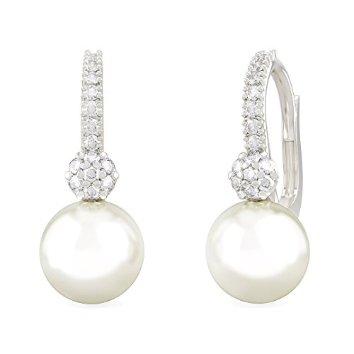 DIANA earrings in 18kt white gold and palladium with pearl and diamonds for women - Baguette Cultured Pearl Earrings