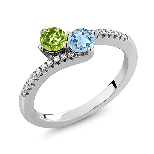 Gem Stone King 0.87 Ct Round Green Peridot Sky Blue Topaz 2 Stone 925 Sterling Silver Bypass Ring (Size 7)