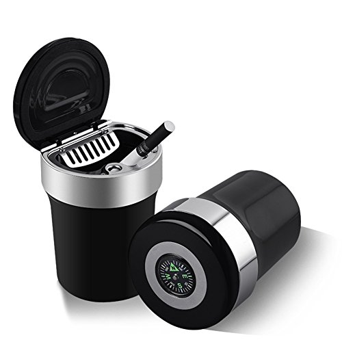 TuoO Car Ashtray with Compass-Smokeless Detachable and Portable for Universal Car Cup of Vehicle Ashtrays (Black)