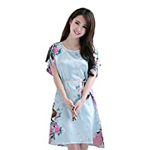Neevas Women's Chinese Style Short Sleeve Silk Dress Loose Nightgown Pajamas Bathrobe