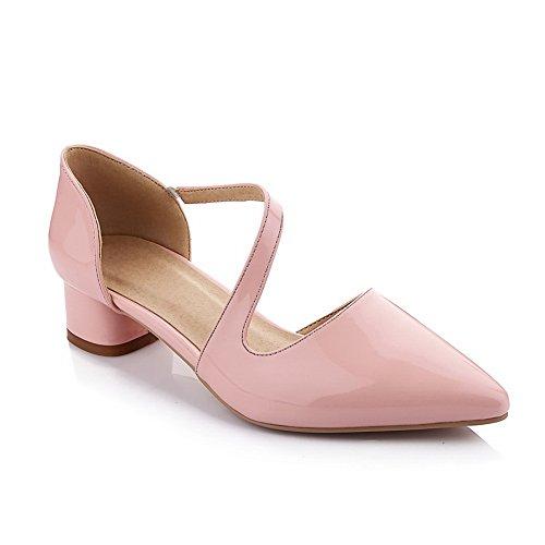 Balamasa Kvinna Tom Mule Gummiband Ko Läder Pumpar-shoes Rosa