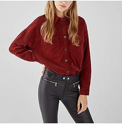FPKBWE Blusa de Pana roja Vino Mujeres Streetwear Turn Down Collar Bolsillos de Manga Larga Tops Camisa Mujer Chica Blusas: Amazon.es: Deportes y aire libre