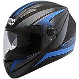 Studds Shifter D2 Decor Full Face Helmet Matt Black with Blue (L - 58 Cms, Plain Visor)