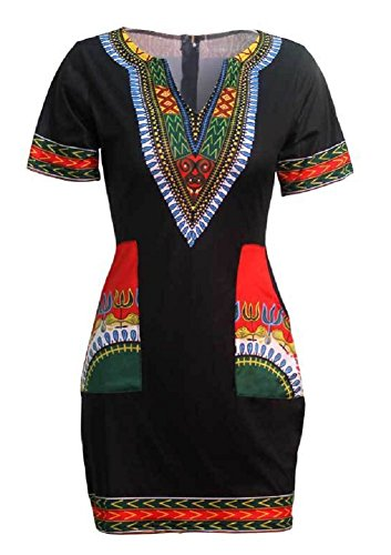 Women Dashiki Short Sleeve Dress Red - 2