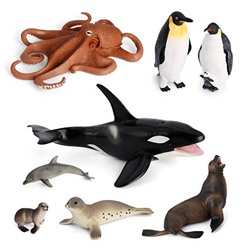 Ocean Figurines Animal Toys VOLNAU 8PCS Antarctica Sea Creatures Figures for Toddlers Kids Sea Life Toy Pack Preschool and Bath Plastic Fish Toy Penguin Killer Whale Sets, BPA Free ()