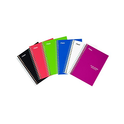 "Five Star Spiral Notebooks, College Ruled, 100 Sheets, 7"" x 4-3/8"", Assorted Colors - Colors Selected For You May Vary, 2 Pack (73707)"