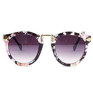 Women's Retro Sunglasses Metal Frame Sweet Round Goggles Eyeglasses(Floral)