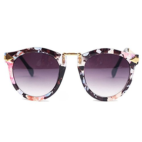 Women's Retro Sunglasses Metal Frame Sweet Round Goggles Eyeglasses(Floral)