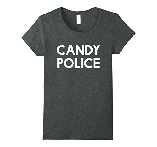Cotton Candy Halloween Costumes (Womens Candy Police Funny Shirt Mom or Dad - Halloween Costume Tee Medium Dark Heather)