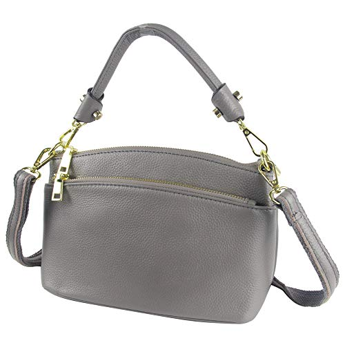 - CHERRY CHICK Women's Genuine Leather Crossbody Purse Small Cowhide Skin Handbags Shoulder Bag for Lady(Grey-9001)