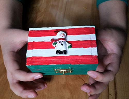 Christmas or Hanukkah Wooden Mini Treasure Chest Toy Treat Box- Winter Snowman Style- Green with Red and White Stripes