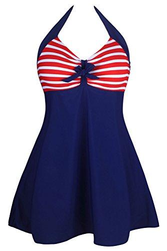 (Aleumdr Women's Vintage Sailor Halter One Piece Skirtini Red Stripe Large)