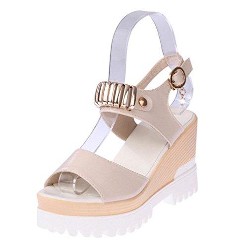 pesante punta fibbia selvatici beige studenti scarpe testa scarpe in crosta spessa di femmina pesce fondo aperte parola sandali dal R7qExEF