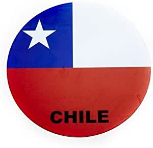 NEW 6.2 X 6.2 INCH . SIZE CHILE COUNTRY FLAG CAR MAGNET .