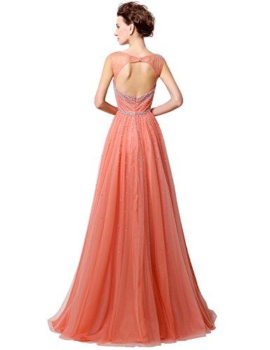 Belle Maison Robes De Bal Longues Cou Pure De Femmes Robe Du Soir Perles Bleu Ciel Hlx022