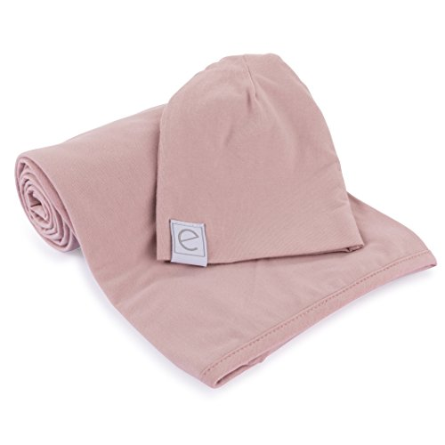 Cotton Knit Jersey Swaddle Blanket and Beanie Gift Set, Large Receiving Blanket - Mauve Lavender (Cotton Jersey Receiving Blanket)