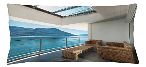 Penthouse Accent - Lunarable Patio Throw Pillow Cushion Cover, Summer Penthouse Veranda Balcony with Sea Ocean View Image Print, Decorative Square Accent Pillow Case, 36 X 16 Inches, Sky Blue Dark Green and White