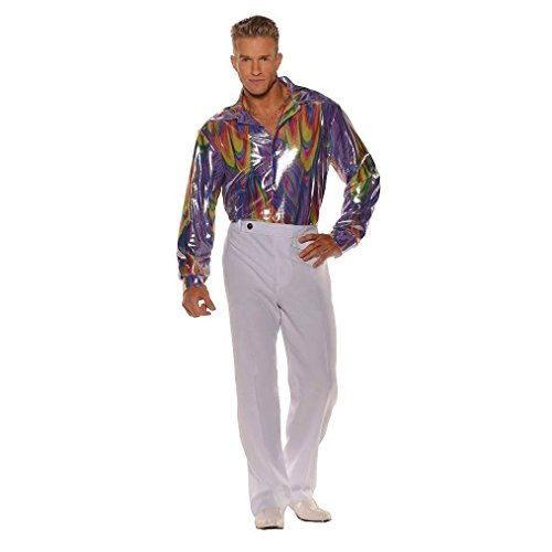 OvedcRay 1970S 70S Disco Shirt Costume Dance Saturday Night Fever Pimp Shiny Purple (Coat Colors Catholic Costumes)