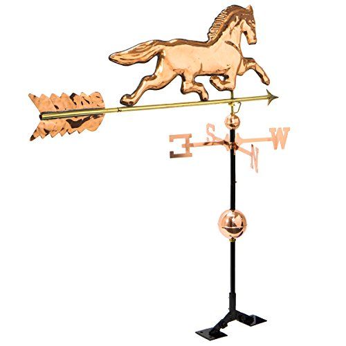 Large Horse Weathervane - Horse Weathervane Large, Polished Copper With Roof Mount