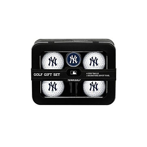 - Team Golf MLB New York Yankees Regulation Size Golf Balls (4 Count) & Divot Tool with Removable Double-Sided Magnetic Marker
