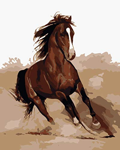 iCoostor DIY Painting Paint by Numbers for Adults with Brush, Paint by Numbers Kit for Adults Beginner, Running Horse Pattern ()