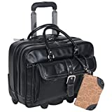 Heritage Travelware 'Lake View' Women's Pebbled SOHO Leather Multi-Compartment 15.6' Laptop & Tablet Wheeled Business Portfolio Tote / Overnighter Carry-On, Black