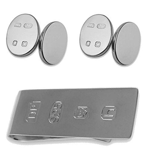 Bond feature silver double sided Money Clip Sterling James hallmark Set cufflinks Box 50TwATHxq