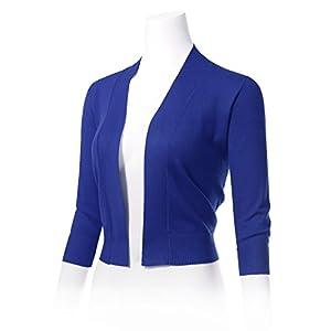 02e82553e3 ARC Studio Women s Classic 3 4 Sleeve Open Front Cropped Cardigans (S-XL)