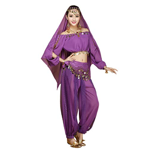 (Maylong Women's Long Sleeve Belly Dancing Outfit Halloween Costume DW17)