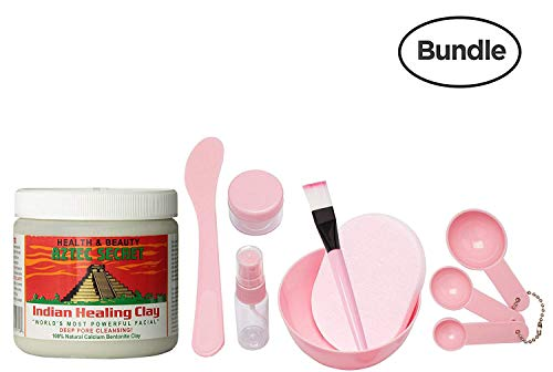 Aztec Secret Indian Healing Clay & 9 in 1 Cosmetic DIY Face Mask Mixing Tool Kit with Big Volume Mask Bowl, Spatula, Brush, Spray Bottle, Puff Soaking and Measuring Spoons (Pink)
