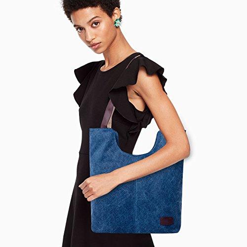 Navy Bag Shopping Blue Women's Fanspack Bag Vintage Bag Top Shoulder Tote Bag Hobo Casual Work Handle q4U6H
