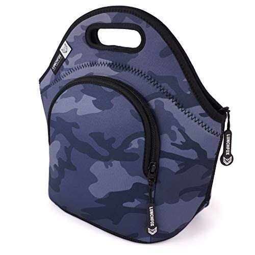 Neoprene Lunch Bags for Women/Men - Runyon Camo by LunchFox - Blue/Grey Camouflage Insulated Lunch Bag/Tote - (The Original) Ultra Thick Neoprene Lunch Totes - The Adult Lunch Box for Work or Play