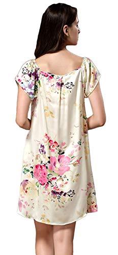 Manica Abito Collo Eleganti Estivi Rotondo Nightdress Donna Stampa Casual Fashion Pigiami Fr Da Corta Notte Sciolto Abbigliamento Fiore Vestito Vintage Farbe Comodo A8qwB5