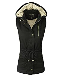 makeitmint Women\'s Anorak Military Utility Jacket Vest w/ Drawstring [S-3XL] 2XL YJV0018_34BLACK