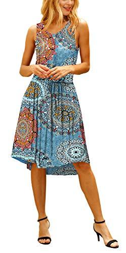 ELF QUEEN Womens Dresses Casual Summer Floral Print Sleeveless Midi Dress Blue Flower Large -