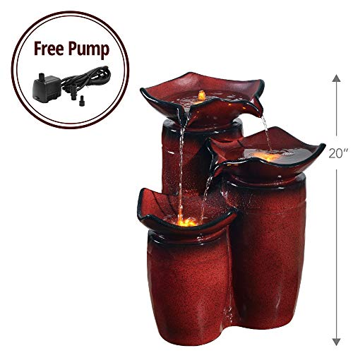 (Peaktop - PF001 Outdoor Fountain, 3 Tier Glazed Pots Fountain, Gradient Red Water Fountain, 20