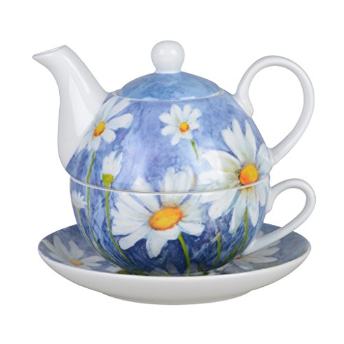 Grace Teaware Porcelain 4-Piece Tea For One (Pastel Blue (Blue Daisies Cup)
