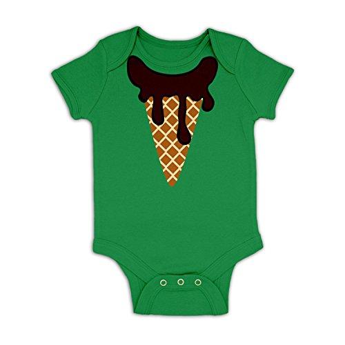 Ice Cream Head (Chocolate) Baby Grow - Kelly Green 3-6 (Ice Cream Dress Up)