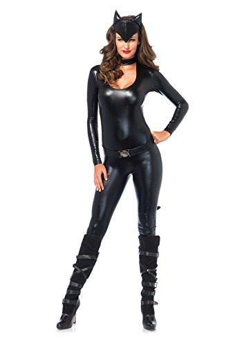 Leg Avenue Women's 3 Piece Frisky Feline Catsuit Costume, Black, Large -