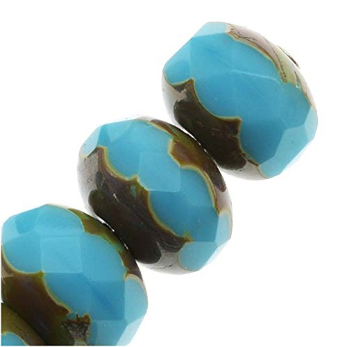 Fire Polished Donut Czech - Czech Fire Polished Glass, Donut Rondelle Beads 9x6mm - Blue Turquoise Picasso (10)