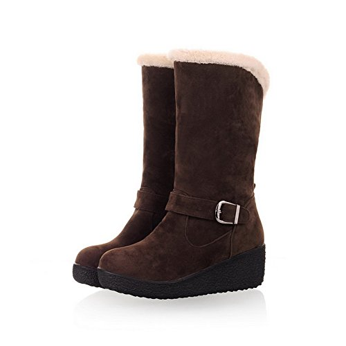 AmoonyFashion Womens Closed Round Toe Kitten Heels Short Plush Rubber Solid Boots with Wedges and Platform Brown kzLHLv2ioI
