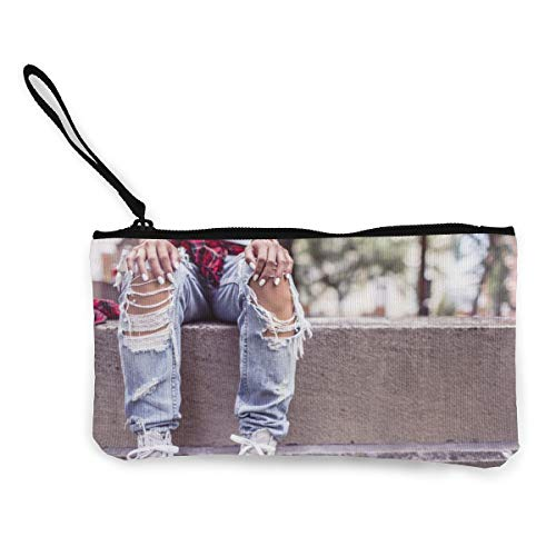 Amazon.com: Ripped Jeans In The Summer Zipper Canvas Coin ...
