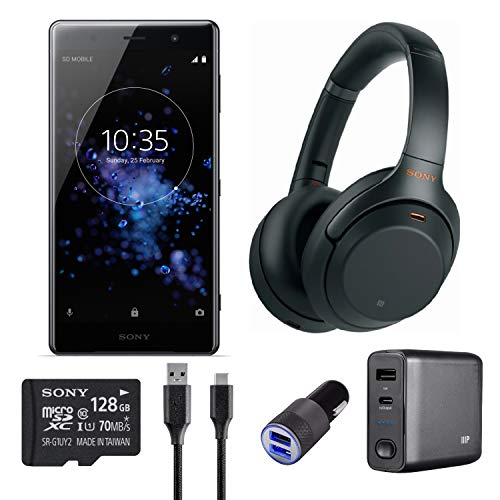 Sony Xperia XZ2 Premium 5.8 Screen Unlocked Smartphone (Black) w WH-1000XM3 Wireless Noise-Canceling Headphones (Black) Bundle