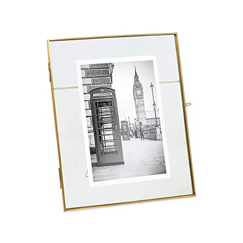 Isaac Jacobs 8x10, Antique Gold, Vintage Style Brass and Glass, Metal Floating Desk Photo Frame (Vertical), with Locket Closure for Pictures, Art, More ()